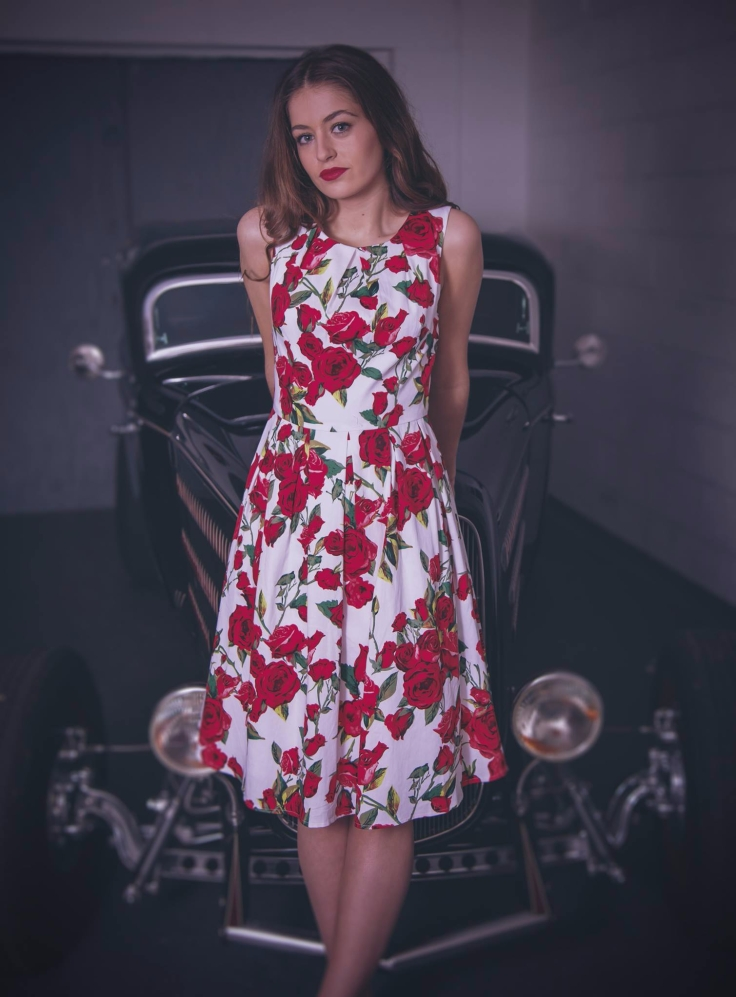 The retro style Eucalyptus Lily May Winter Rose Dress available at Colmers Hill Fashion