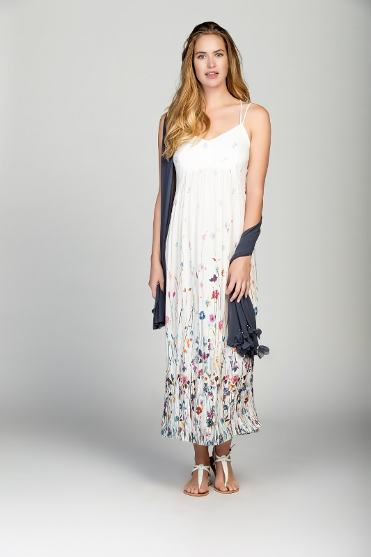 Myrine Amele Maxi Dress available at Colmers Hill Fashion with a pretty floral print and crossover straps on the back