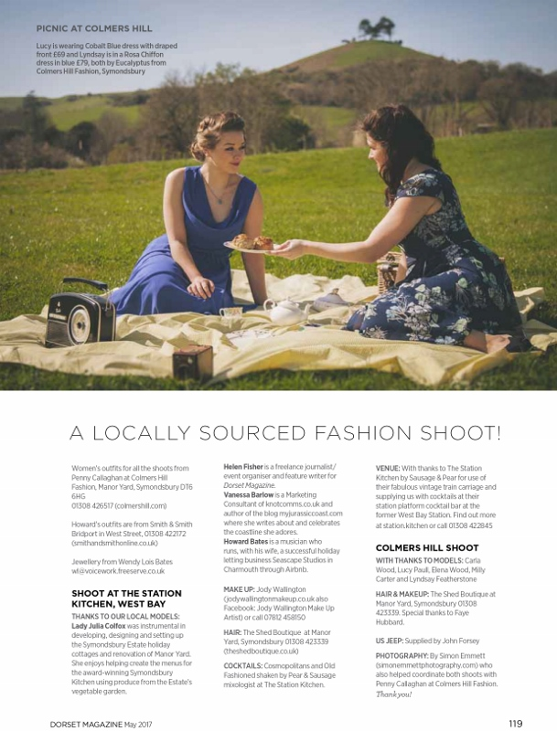 Colmers Hill, models Lucy Paull wearing a cobalt blue Eucalyptus dress (£69) and Lyndsay Featherstone wearing a Eucalyptus Rosa Chiffon Dress (£79)