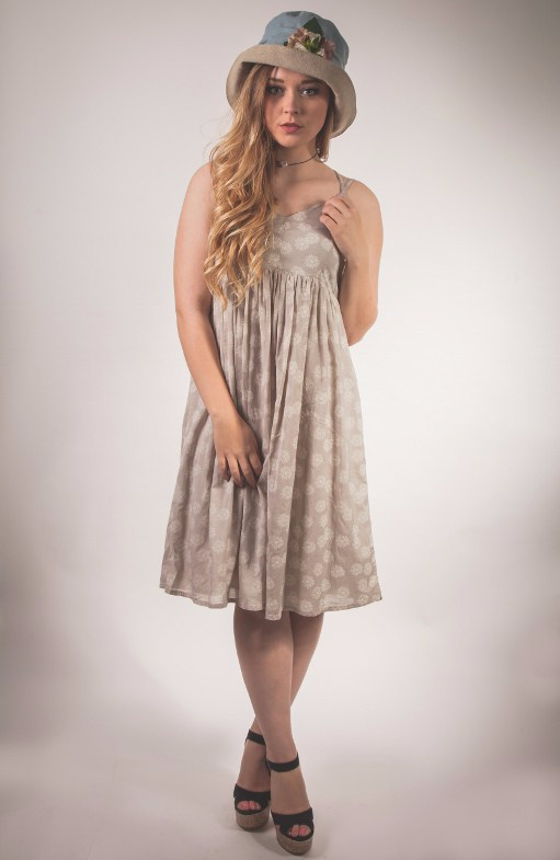 The pretty cotton Myrine Beth Dress with its crossover straps on the back available at Colmers Hill Fashion