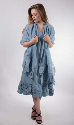 Out of Xile Reversible Linen and Dobby Dress & Stole in marine blue