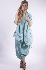 Out of Xile Linen Bubble Hem Dress and Stole in ocean green