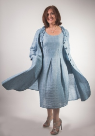 Out of Xile Metallic Rose Dress and Coat Marine Blue