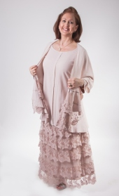 Out of Xile Metallic Crepe and Tulle skirt, top and cape in seashell pink