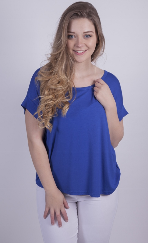 DECK white trousers with a Pour Moi cobalt blue top available at Colmers Hill Fashion