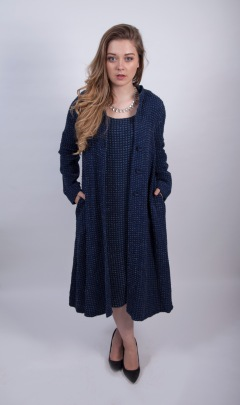 Out of Xile Boucle Dress and Coat in deep sea blue