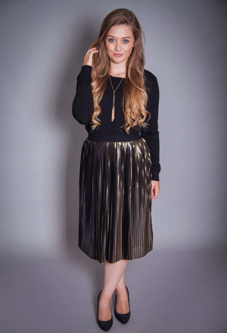 Cotton Brothers Gold Pleated Skirt £55 available on www.colmershill.com