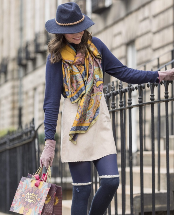 Powder above the knee socks complemented by the Powder satin paisley scarf and suede gloves all available at colmershill.com